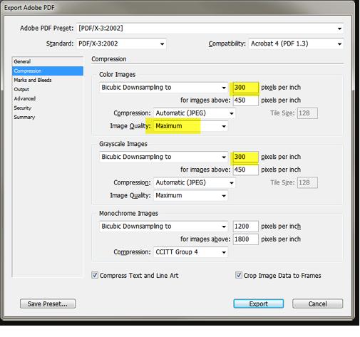 Lorsque Vous Aurez Selectionne Le PDF X 32002 Les Parametres Indiqueront Automatiquement La Valeur Correcte De 300 Dpi Dans Longlet Compression